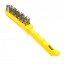 Щетка 4-рядная металлическая желтая ручка