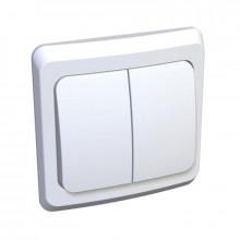 Выключатель двойной внутренний (цвет белый)/120 шт