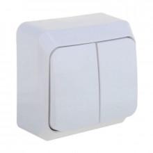 Выключатель двойной наружний (цвет белый)/240 шт
